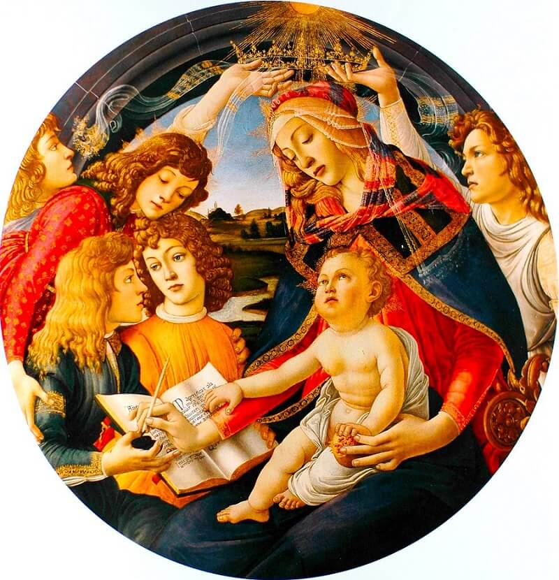 The Virgin and Child with Five Angels by Sandro Botticelli